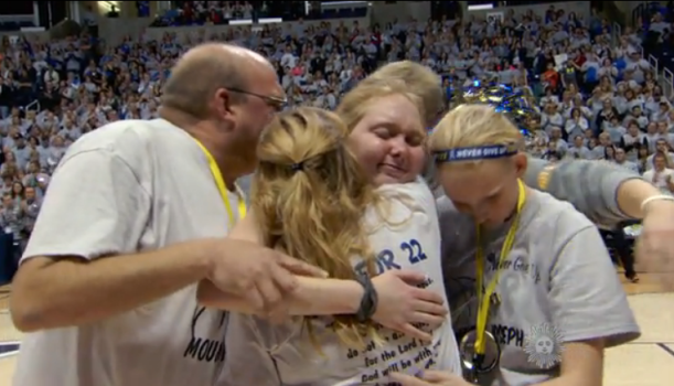Lauren Hill and her team after a big win.
